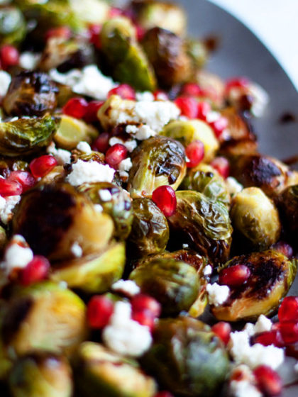Roasted Brussels with Feta and Pomegranate