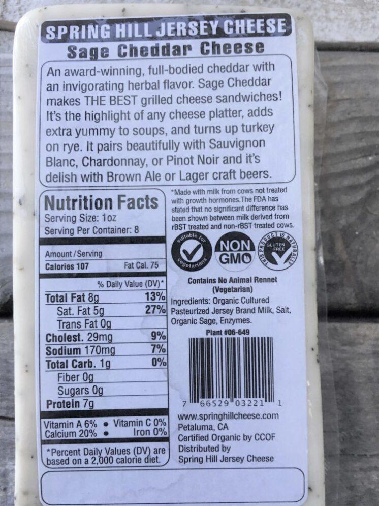 sage cheddar ingredients