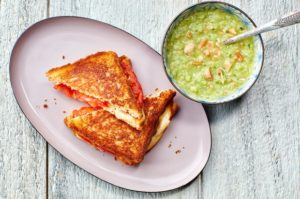 Grilled Heirloom Tomato & Mozzarella Sandwiches with Green Heirloom Tomato Gazpacho